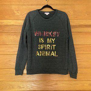 Bow & Drape Whiskey sequinned graphic sweatshirt
